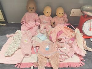 Baby Annabelle Zapf Creation Bundle  3 Dolls With Sound  Clothes Accessories