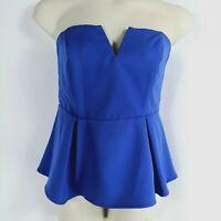 City Chic Women's Size XS 14 Blue Strapless Boned Bustier Peplum Top Boob Tube