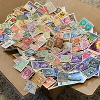 BOX LOT WW STAMPS. 1'000's OF OFF PAPER STAMPS 100+ WORLDWIDE COUNTRIES, NO USA