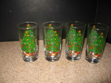 Christmas Tree Double Old-Fashion / TUMBLERS Drinking Glasses, Set Of 4,  GUC