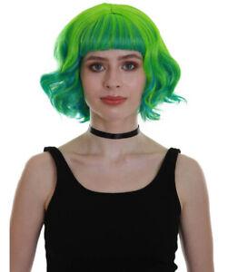 Women's Green Color Wavy Shoulder Length Trendy Ray of Light Wig HW-6731
