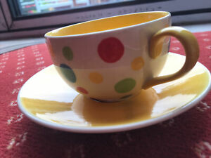 Whittard Yellow Inside Spotty Tea Cup & Saucer Hand Painted NEW