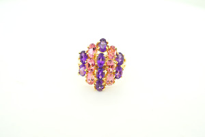 Womens 10k Yellow Gold Ring with Synthetci Pink Sapphires and Amethysts #22489