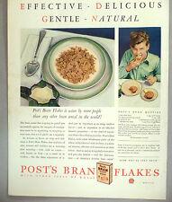 Post's Bran Flakes Cereal PRINT AD - 1930 ~~ bran muffin recipe