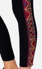 JOHNNY WAS MARJAN EMBROIDERED BLACK LEGGINGS Sz XL  BEAUTIFUL! LAST PAIR