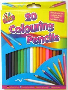 20Pc Kids Adult Bright Colouring Pencils Set Art Craft School Stationery