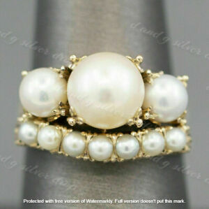 2.50CT Round Cut Pearl Wedding Engagement Bridal Band Ring 14K Yellow Gold Over