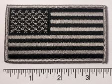 "American Flag GREY Embroidered Patch 3.5x2"" -- Patriotic Pride USA GRAY"