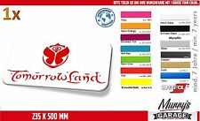 Tomorrowland 235 x 500mm pegatinas, pegatinas, decal, autocollant, I.N.R.S., Rave