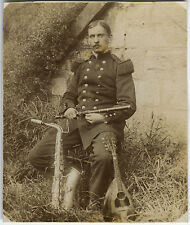 PHOTO ANCIENNE - VINTAGE SNAPSHOT - MUSICIEN MILITAIRE INSTRUMENT-MILITARY MUSIC