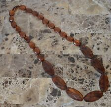 """New Multi Faceted Graduated Flat Beaded Necklace 30"""" Amber Brown"""