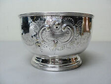 NICE EARLY AMERICAN COIN SILVER BOWL w/ CHASED FLORAL DESIGN, c. 1851-1876