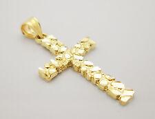 10k Yellow Nugget Gold Cross Charm pendant Gold Crucifix