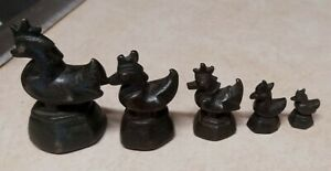 Opium Weight Birds Ducks Figures Set of 5 Bronze Herb Medicine Antique Burmese