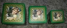 Set of 3 Victorian Angel-Cherub Green Decorative Square Tins ~ Stackable Inside