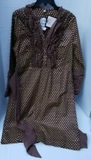 Almatrichi Dress Brown Gold Heart Ruffle Madrid Spain 42 NEW