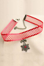 Red Snowflake Pendant Necklace Women's Fashion Costume Jewellery