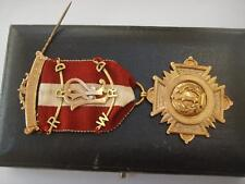 9ct GOLD SONS OF ENGLAND TRAFALGAR LODGE No 324 MEDAL WWI 1917-1918 CASED