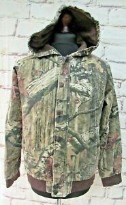 Cabela's Break Up Infinity hunting camouflage hooded denim bomber jacket L or XL