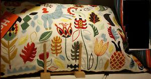 "IKEA Rodarv Cushion Multicolor Pillow 16"" x 26"" Floral Embroidered RÖDARV Scandi"