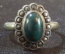Sterling silver marcasite & green stone vintage Art Deco antique ring - size P