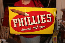 "Vintage 1950's Phillies America's Cigars Tobacco Gas Oil 21"" Embossed Metal Sign"