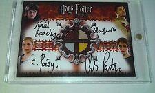 Harry Potter GOF Quad Autograph Costume Card  Radcliffe Pattinson