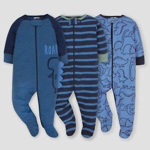 Gerber Baby Boys 3 Pack Sleep N Plays Size 6-9 Months NEW Dino CUTE