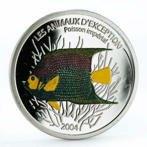 Congo 10 francs Poisson Imperial Fish colored proof silver coin 2004