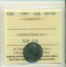 ICCS CAN 1907 10 cents AU-50 Certification No. XLH 476