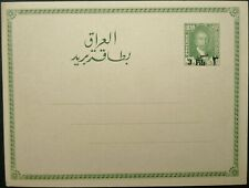 IRAQ KING FAISAL I 3f ON 1/2a SURCHARGED UNUSED POST CARD - POSTAL STATIONERY