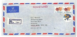 SINGAPORE Cover Registered Commercial Air Mail 1980 CRAB SEA LIFE BT250