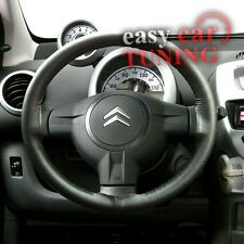FOR CITROEN DISPATCH JUMPY 07-16 BLACK GENUINE REAL LEATHER STEERING WHEEL COVE