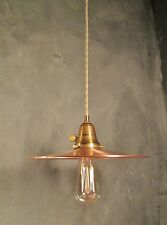 Vintage Industrial Pendant Light w/ Flat Copper Shade - Steampunk Lamp