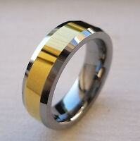 6mm TUNGSTEN CARBIDE with gold plated MEN'S COMFORT FIT WEDDING BAND RING SZ5-15