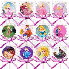 Sleeping Beauty Disney Princess Aurora Lollipops w/ Fuchsia Bows Favors -12 pcs