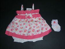 NWT Janie and Jack Baby Safari 0-3 Months Orchid Floral Bubble Dress & Socks