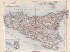 SIZILIEN Sicilia Palermo Messina Catania LANDKARTE  1907 Ätna Liparische Inseln