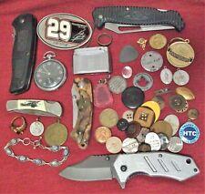 New listing Estate Junk Drawer Lot *Knife Pocket Watch Buckle Lighter And More