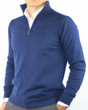 GOLF UOMO LUPETTO ZIP PURO CASHMERE 100% MADE IN ITALY PULLOVER BLU.tg M-3XL