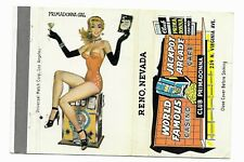 NV Reno Nevada Club Primadonna Vintage Matchbook Cover Unstruck Sexy Showgirl