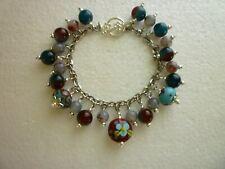 *Stainless Steel Bracelet Glass Lampwork Beads Flowers Stripes Wine/Teal