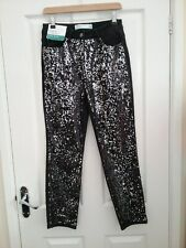 Next Womens Black Sequined High Rise Straight Leg Jeans Size 10 Reg BNWT