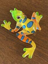 Glass Frog figurine Rainforest Amphibian 2.5� Decor Green Yellow orange Neon