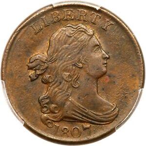 1807 C-1 PCGS AU 58 Draped Bust Half Cent Coin 1/2c