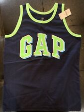 NWT Boys Gap Tank Top Navy Blue With Bright Lime Trim Size M(8)