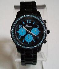 Designer Inspired black finish Blue Bling Boyfriend Geneva Fashion Watch