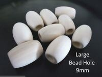 100pcs 30mm x 19mm WOODEN Large OVAL Beads  Unpainted Unfinished Macrame A02