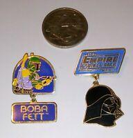 Vintage Star Wars DARTH VADER / BOBA FETT 1980 Collectors Pins