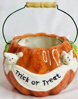 Ghost Pumpkin Ceramic Halloween Basket Candy Dish